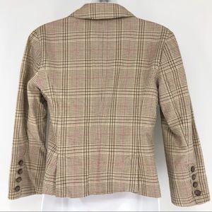 American Eagle Outfitters Jackets & Coats - American Eagle Tan & Pink Plaid Blazer 3/4 Sleeve